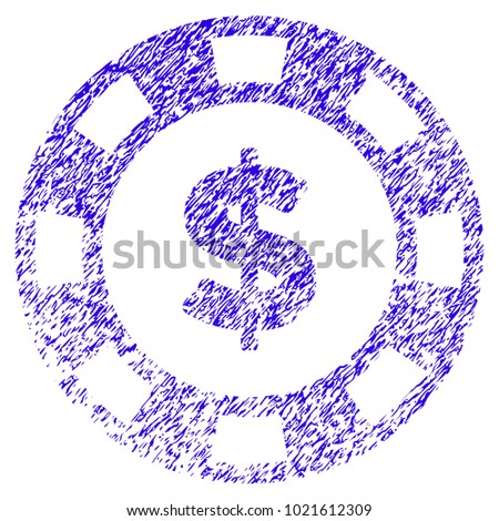 Grunge Dollar Casino Chip rubber seal stamp watermark. Icon symbol with grunge design and scratched texture. Unclean raster blue emblem.