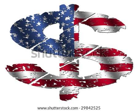grunge dollar symbol with American flag on white illustration