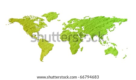 Grunge eco environment world map with green colored paper texture - isolated against white background, including clipping path - stock photo