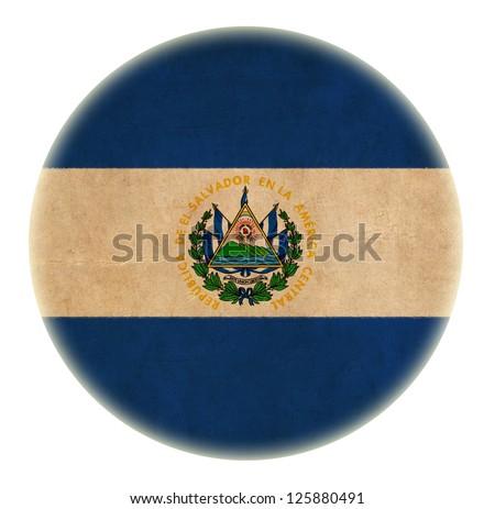 grunge El Salvador flag drawing button - stock photo