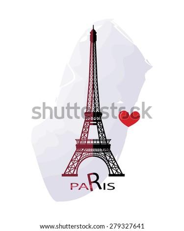 Grunge elegance ink splash illustration of Eiffel tower - stock photo