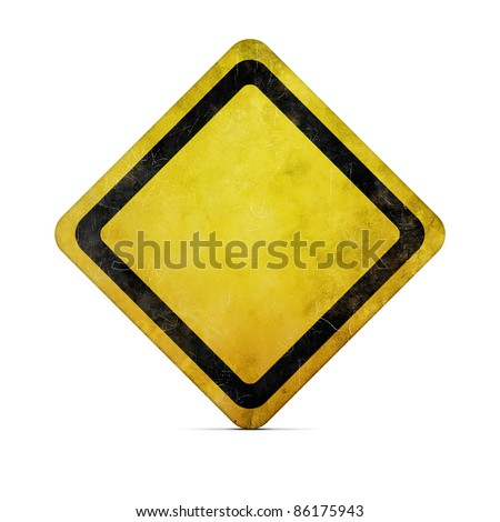 Grunge empty road sign with clipping path - stock photo