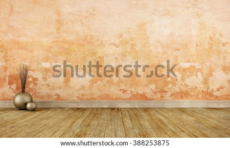 Grunge empty room with old orange wall and dirty wooden floor - 3D Rendering