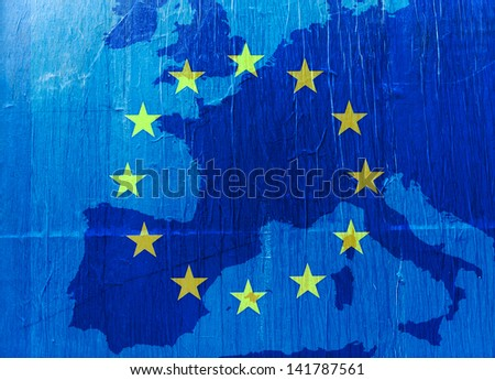 Grunge Europe map in blue  with the EU stars - stock photo