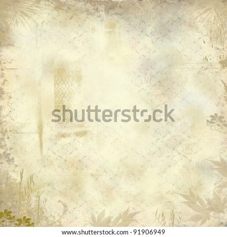 Grunge fantasy wallpaper with leaves, floral stylized pattern and  decorated window - stock photo