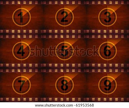 grunge film countdown - stock photo