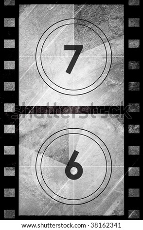 Grunge film countdown in grey color