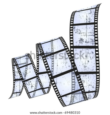 grunge filmstrip (raster version contains path) - stock photo