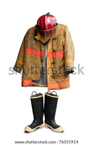 Grunge fireman suit isolated on white background - stock photo