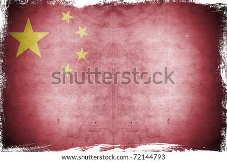 Grunge flag China - stock photo