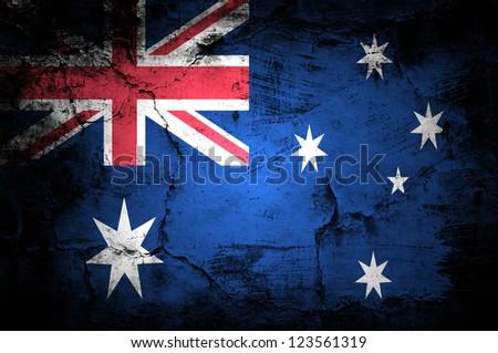 Grunge flag of Australia - stock photo