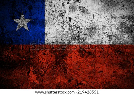 grunge flag of Chile with capital in Santiago - stock photo