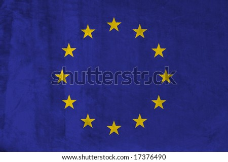 Grunge Flag of Europe Union. Full collection European flags.