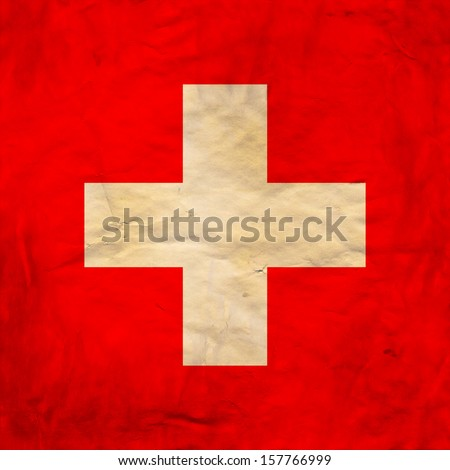 Grunge flag of European country Switzerland - stock photo
