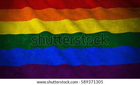 Illustration Grunge Gay pride flag