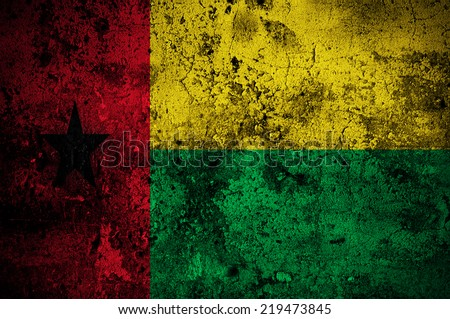 grunge flag of Guinea-Bissau with capital in Bissau - stock photo
