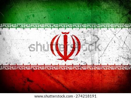 grunge flag of Iran - stock photo