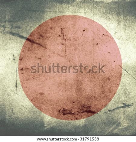 grunge flag of japan - stock photo