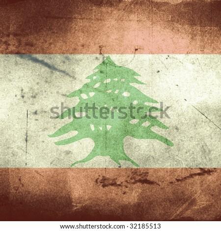 grunge flag of lebanon - stock photo