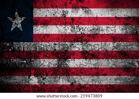 grunge flag of Liberia with capital in Monrovia - stock photo