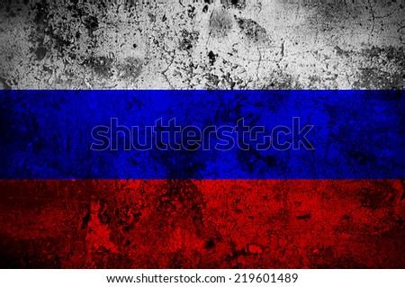 grunge flag of Russia with capital in Moscow - stock photo