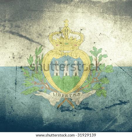 grunge flag of san marino - stock photo
