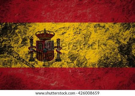 Grunge flag of Spain on stone background - stock photo