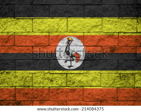 Grunge flag of Uganda - stock photo