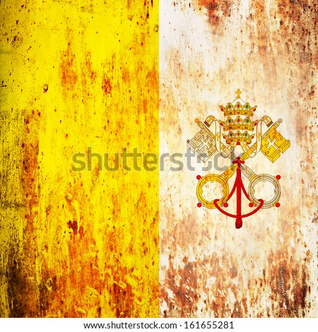 Grunge flag of Vatican - stock photo