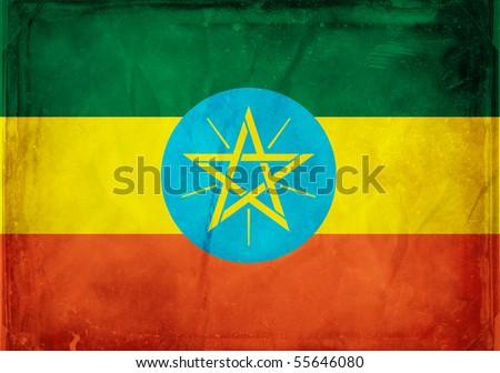 Grunge flag series -  Ethiopia - stock photo