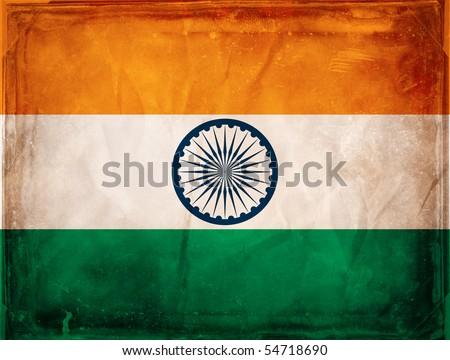 Grunge flag series -  India - stock photo