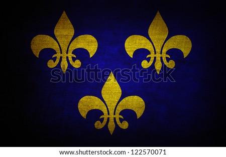 Grunge flag with old fleur de lys symbols - stock photo