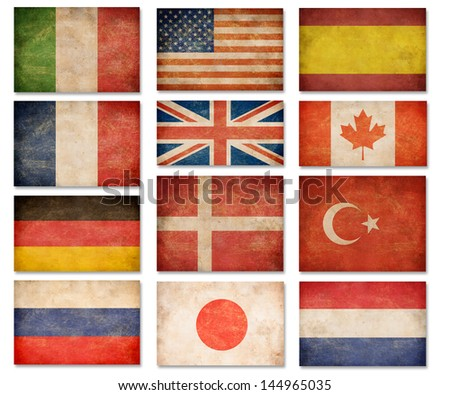 Grunge flags: USA, Great Britain, Italy, France, Denmark, Germany, Russia, Japan, Canada, Spain, Turkey, Netherlands - stock photo