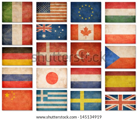 Grunge flags: USA, Great Britain, Italy, France, Denmark, Germany, Russia, Japan, Canada, Spain, Turkey, Netherlands, Australia, Poland, Sweden, Greece, China, Hungary, European Union - stock photo