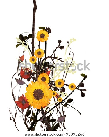 Grunge Floral Art on White Background - stock photo
