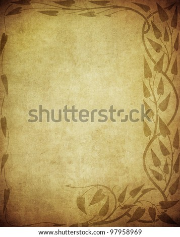 grunge floral background with space for text or image - stock photo