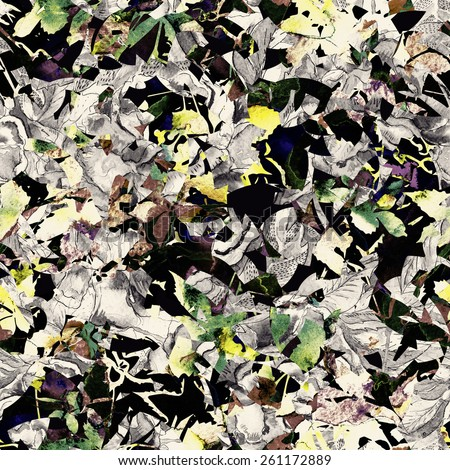 grunge floral seamless pattern - stock photo