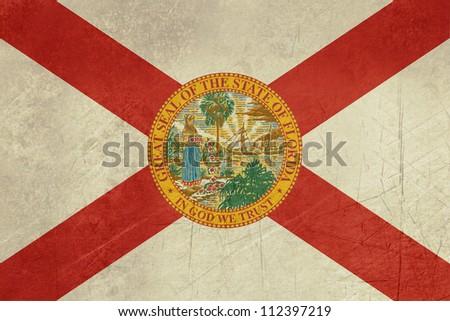 Grunge Florida state flag of America, isolated on white background. - stock photo