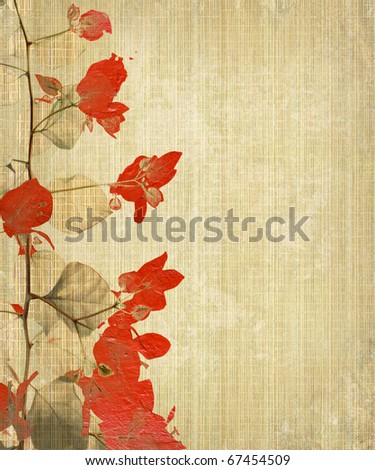 Grunge Flower Art on Bamboo Background - stock photo