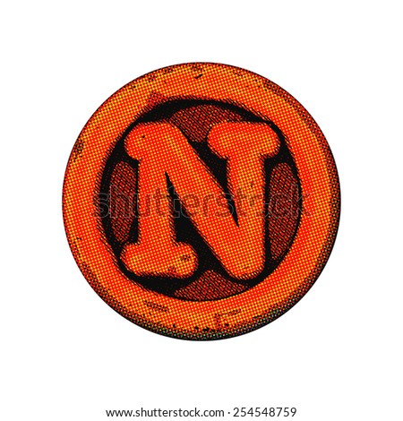 grunge font - letter N - stock photo