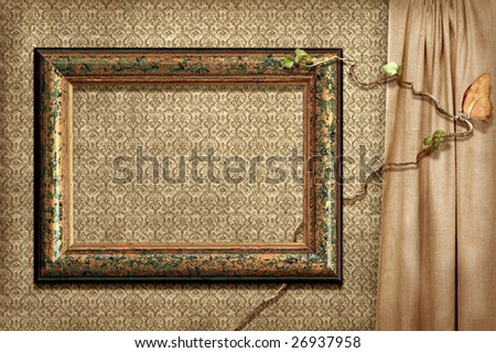 Grunge frame on a grunge wallpaper with  ivy and butterfly