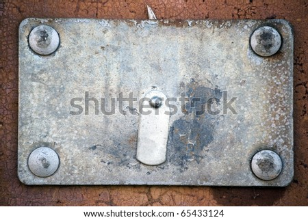 grunge frame, screws, metal background - stock photo