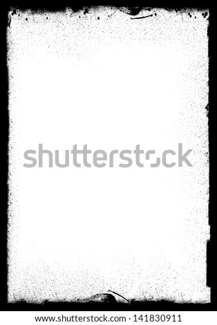 Grunge frame with black inky splashes. Space for acidic designs, text, photo. Photo edge perfect to create special effects. - stock photo