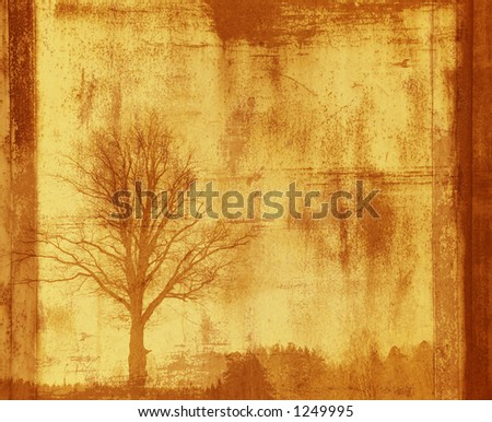 grunge frame with tree silhouette - stock photo