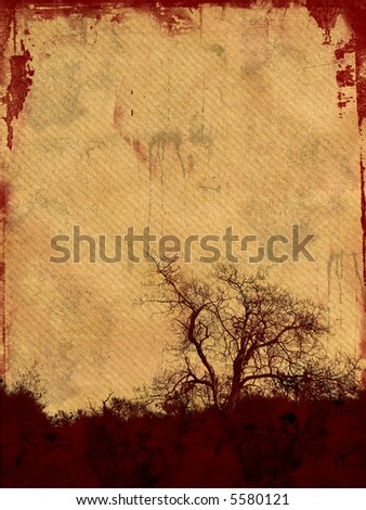 Grunge frame with tree silhouette on aged paper background  with space for your text