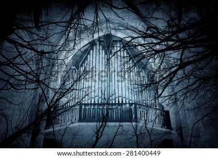 grunge frame with tree silhouettes and organ - stock photo
