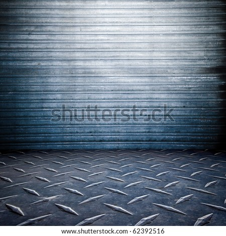 grunge , garage room , stripped texture metal background  , floor and wall - stock photo