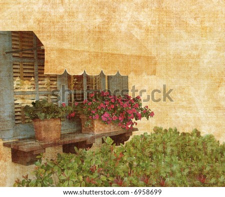 Grunge Garden Window With Awning Source From Photograph - stock photo