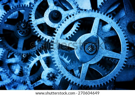 Grunge gear, cog wheels background. Concept of industrial, science, clockwork, technology.  Blue tint - stock photo