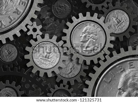 Grunge gear coin of dollar - stock photo